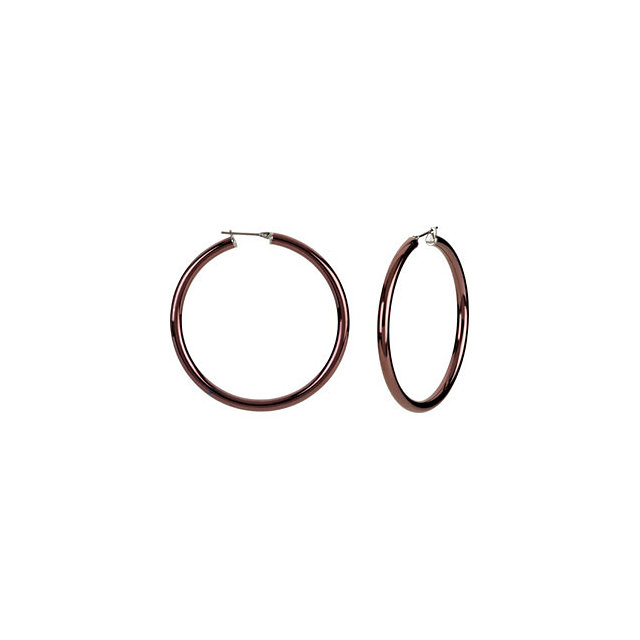 Stainless Steel 4x50mm Hoop Earrings with Chocolate Immerse Plating