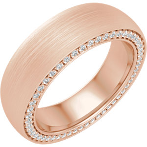 14K Rose 6 mm 3/4 CTW Diamond Accented Band with Satin Finish Size 10