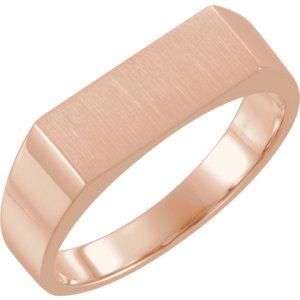 Fashion Rings , 18K Rose 15x6mm Men's Rectangle Signet Ring
