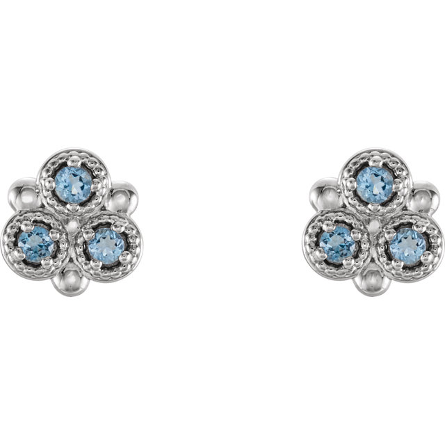14K White Aquamarine Three-Stone Earrings