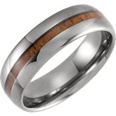 Domed Band with Acacia Wood Inlay