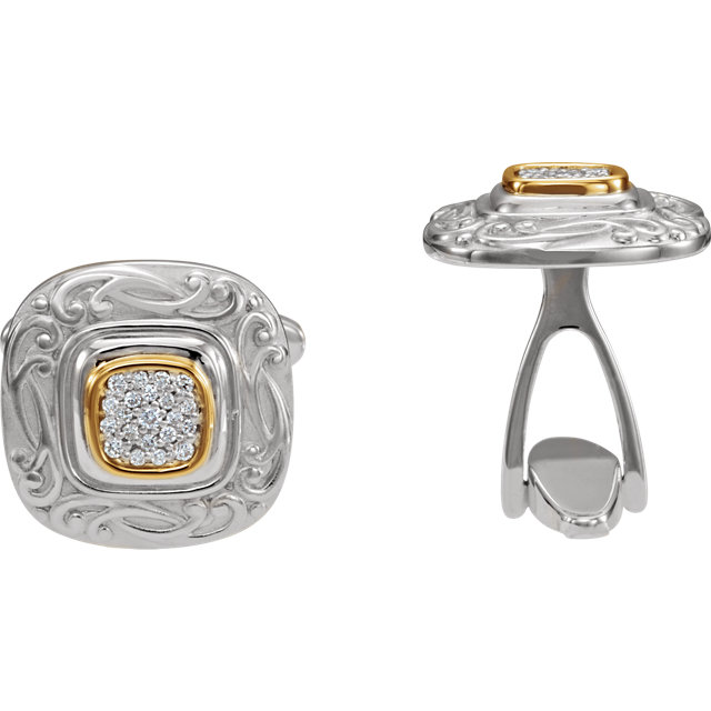 Sterling Silver & 14K Yellow 1/4 CTW Diamond Cuff Links