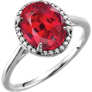 Fashion Rings , 14K White Chatham® Created Ruby & .06 CTW Diamond Ring