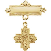 Four-Way Medal Baptismal Pin