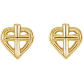 Cross with Heart Youth Earrings