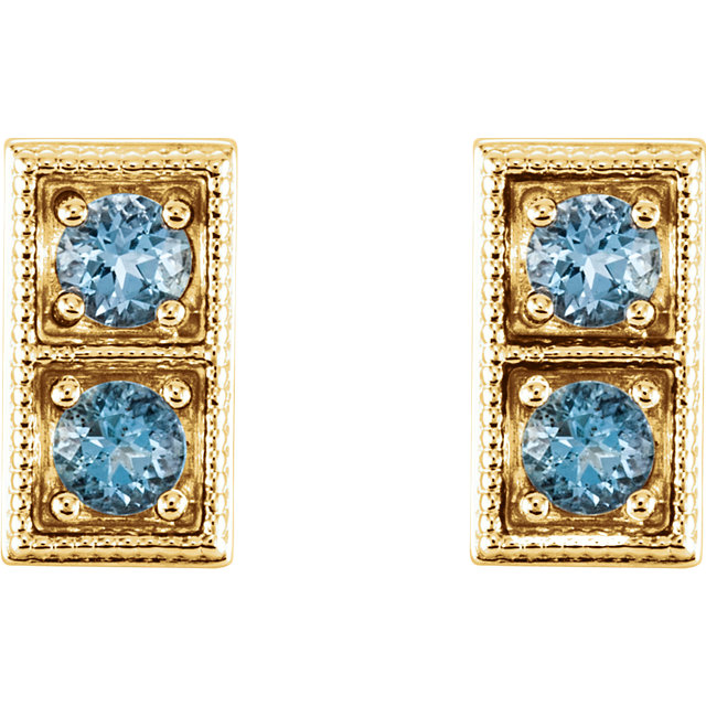14K Yellow Aquamarine Two-Stone Earrings