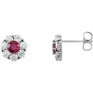 Earrings , 14K White Ruby & 1 1/8 CTW Diamond Cluster Earrings
