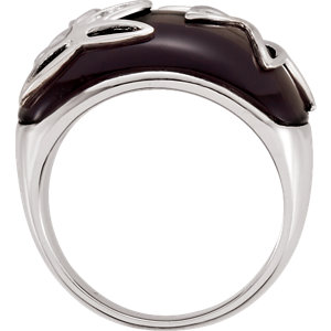 Onyx & Diamond Accented Floral-Inspired Ring