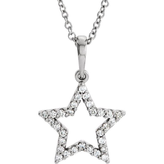 14K White 1/8 CTW Diamond Petite Star 16