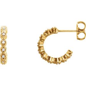 14K Yellow 1/10 CTW Diamond J-Hoop Earring