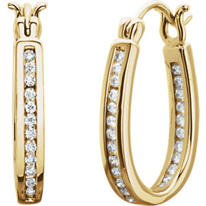 14K Yellow 1/3 CTW Diamond Inside/Outside Hoop Earrings