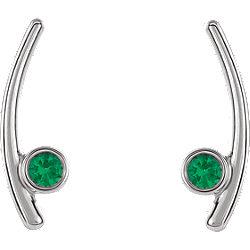 211867f09 14K White Chatham® Created Emerald Ear Climbers | Stuller
