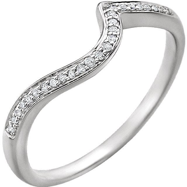 14K White .07 CTW Diamond Band for 4mm Round Ring