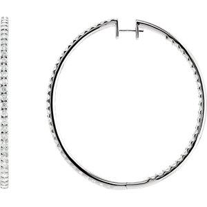 14K White 5 CTW Diamond Inside/Outside Hoop Earrings