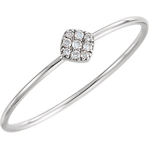 14K White 1/8 CTW Diamond Petite Square Ring