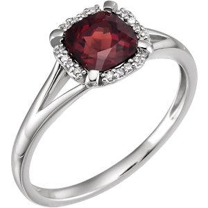 14K White Mozambique Garnet & .05 CTW Diamond Ring