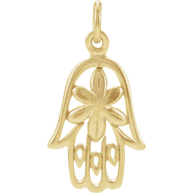 Sterling Silver Plated with 24K Gold Hamsa Hand Charm