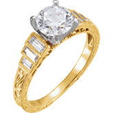 Baguette Accented Hand-Engraved Engagement Ring or Band