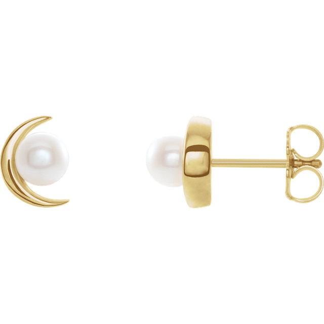 14K Rose Crescent Moon Earrings for Pearl