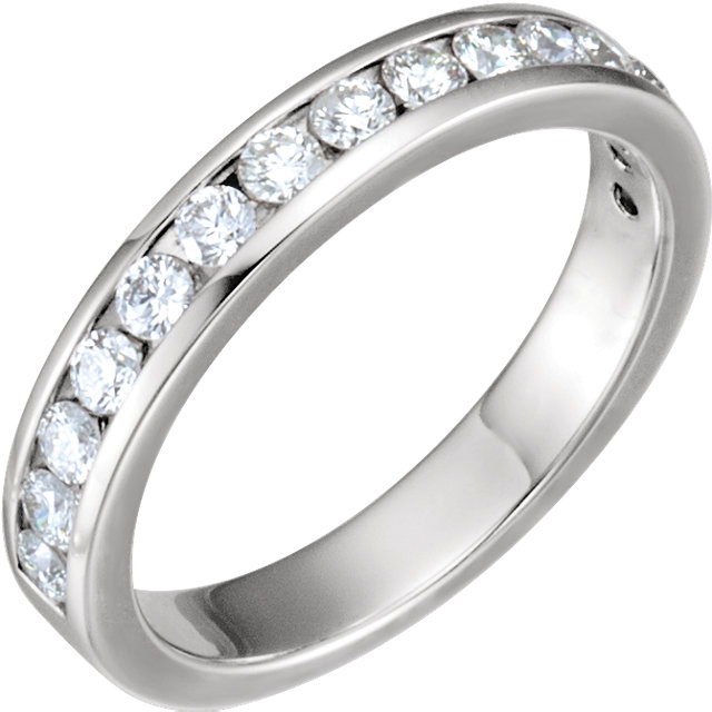 14K White 1/2 CTW Diamond Band for 6.5 mm Round Engagement Ring