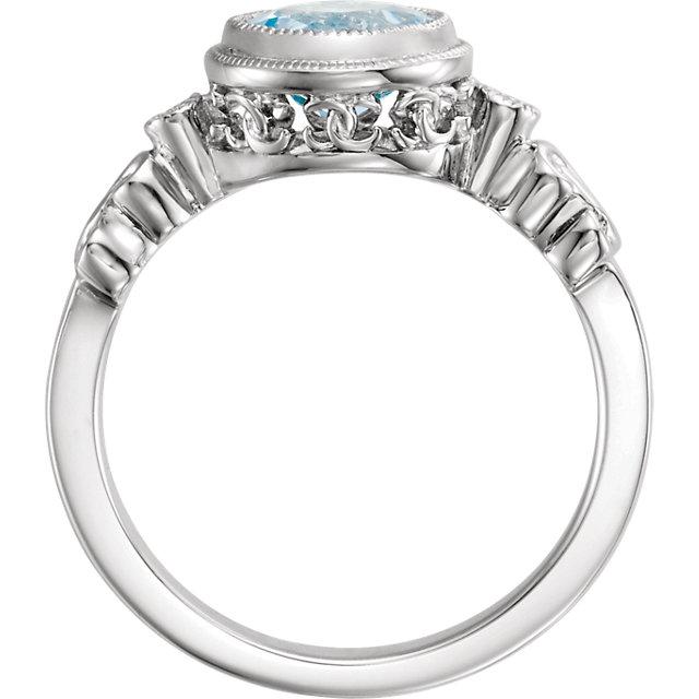 14K White Aquamarine & .02 CTW Diamond Ring