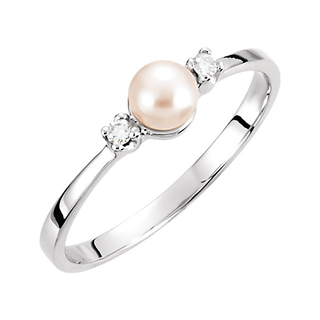 14K White 4.5 mm Akoya Cultured Pearl & Diamond Ring