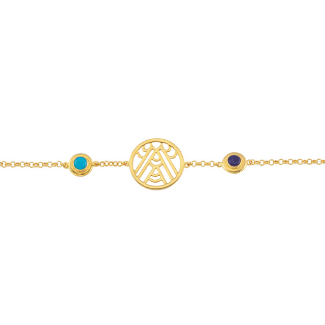 18K Yellow Vermeil Turquoise & Sapphire 7