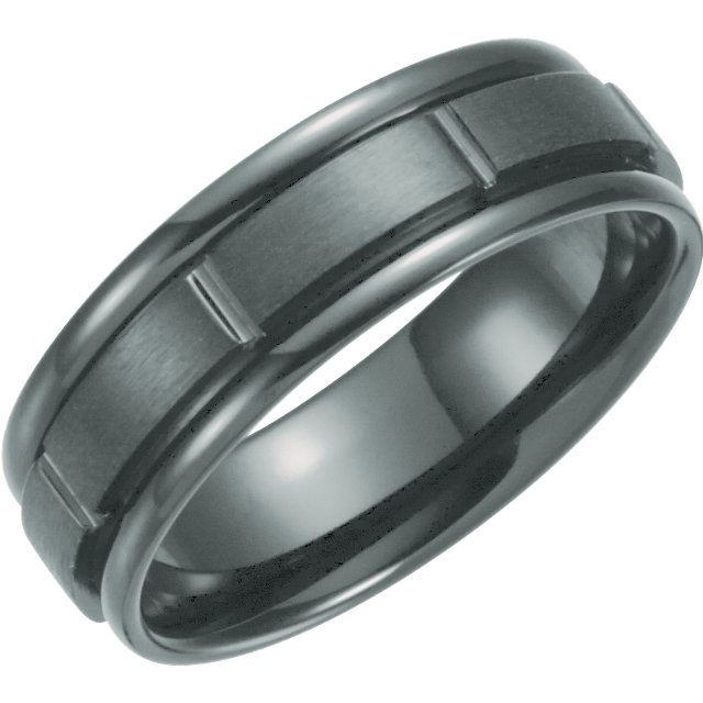 Black Titanium 7mm Grooved Band Size 8