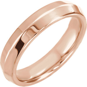 14K Rose 4mm Knife Edge Comfort Fit Band