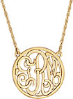 14K Yellow 15mm 3-Letter Script Monogram Necklace