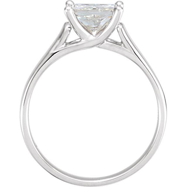 14K White 6mm Square Forever Classic™ Moissanite Solitaire Engagement Ring