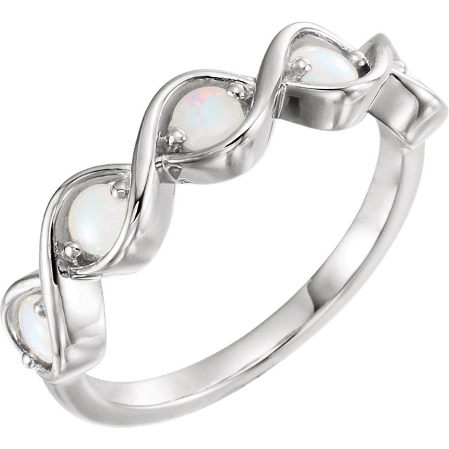 Sterling Silver Opal Stackable Ring