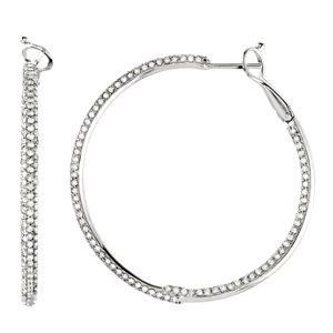 14K White 2 7/8 CTW Diamond Inside/Outside Hoop Earrings