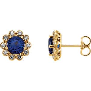 Earrings , 14K Yellow Blue Sapphire & 1/3 CTW Diamond Earrings