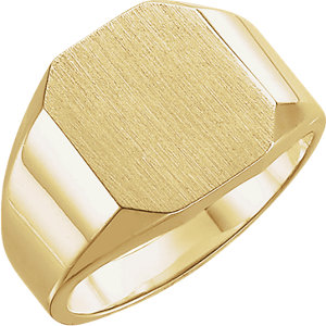 Fashion Rings , 14K Yellow 12x10mm Octagon Signet Ring