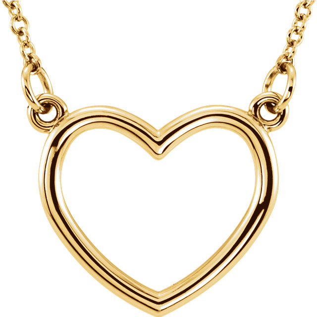 14K Yellow 13x13.75 mm Heart 16