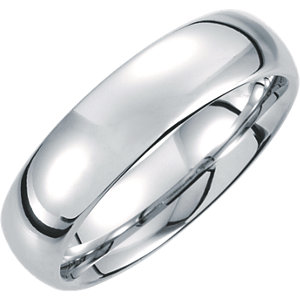 White Tungsten 6mm Domed Band Size 6.5