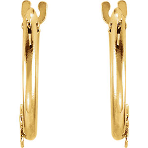 14K Yellow Youth Hoop Earrings with Star