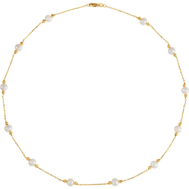 14K Yellow Freshwater Cultured Pearl & Bead Station 18
