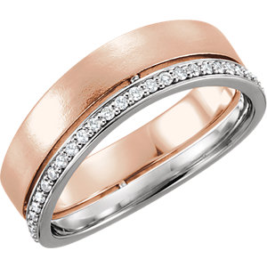 14K Rose & White 6.5mm 1/3 CTW Diamond Band Size 7