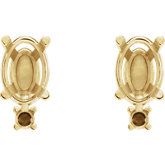 Oval 4-Prong Accented Basket Earrings