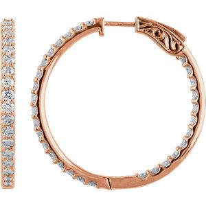 14K Rose 3 CTW Diamond Inside/Outside Hoop Earrings