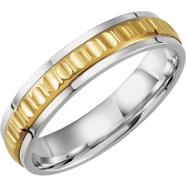 Sterling Silver & 10K Yellow 7 mm Comfort-Fit Band Size 8