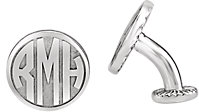 Sterling Silver 16.5 mm 3-Letter Block Monogram Cuff Links