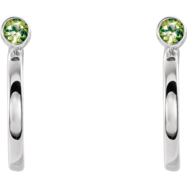 14K White 2 mm Round Peridot Bezel-Set J-Hoop Earrings
