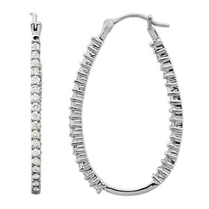 Platinum 1 CTW Diamond Inside/Outside Hoops