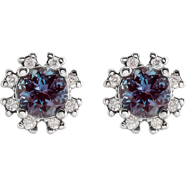 14K White Chatham® Created Alexandrite & .07 CTW Diamond Earrings