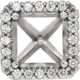Square 4-Prong Halo-Style Shank Setting