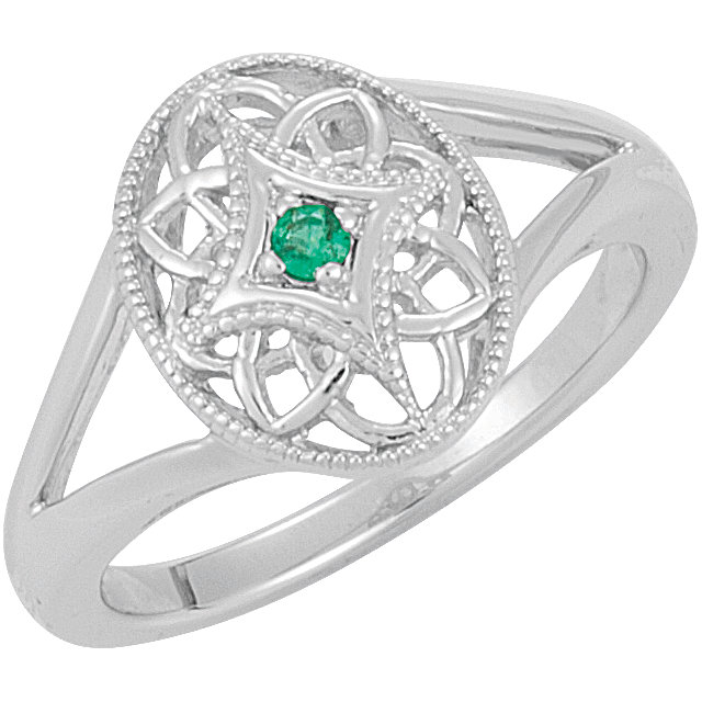 Sterling Silver Emerald Granulated Filigree Ring Size 7