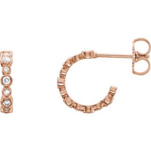 Earrings , 14K Rose 1/4 CTW Diamond Bezel-Set J-Hoop Earrings
